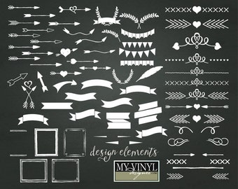 Design Elements Cuttable SVG Files -  Svg Gsd Eps Ai Vector Designs - Banner, Arrow, Frame, Embellishment SVGs for Cricut and Silhouette
