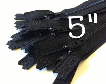 5 inch black YKK zippers, TEN pcs, 3 mm coil, short dress, pouch, all purpose zippers - YKK color 580
