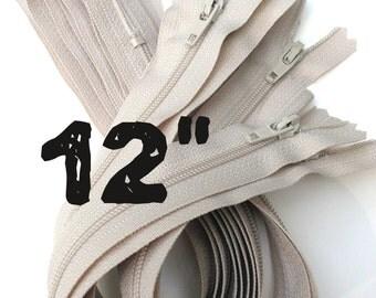 12 inch natural beige zippers wholesale, Twenty-five pcs, YKK color 572