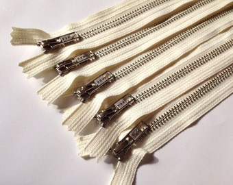 Silver teeth zippers, 10 inch zippers, FIVE pcs, nickel teeth, vanilla, cream tape, YKK color 121, finished zippers