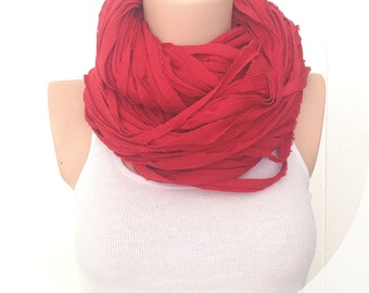Red Circle Scarf Necklace, Chunky Necklace, Cotton Necklace, Jersey Scarf, Necklace Women, Necklace Womens