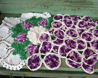 Vintage Lot 8 Doily Dollies Flowers Raised Grape Clusters Purple Pineapple White