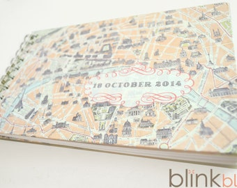 guest book with vintage Paris map cover and custom date
