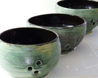 Yarn Bowl Ceramic Turquoise Matte and Black 3 Sizes Small Medium Large