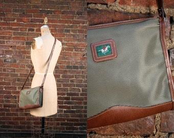 90s Crossbody Bag / 1990s Revival / 1990s Green Taupe Cross Body Purse