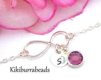 Birthstone bracelet, Infinity Bracelet, Personalized Infinity Bracelet with  Swarovski Crystal Birthstone,  Charm bracelet