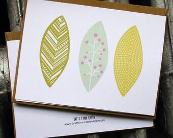 Leaf Print - Blank Card 4 in x 5.5 in