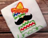 Personalized Fiesta Birthday Shirt - Cinco de Mayo Birthday Shirt - You Choose your Fabric  - Sombrero Birthday Shirt - by Pocketbaby