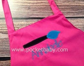 Personalized Paint Party Apron - Paint Party Child Apron - Art Party Apron - Smock - by Pocketbaby