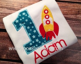 Personalized Rocket Birthday Shirt - You Choose your Fabric  - Space Birthday Shirt - by Pocketbaby