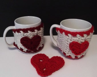 Crochet Sweetheart Coffee Mug Cozy - ready to ship