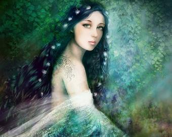 Fairy tale Goddess Blue Green Ethereal Woman Fantasy Portrait 'Changeling' Art Print Shapeshifter Magic Mythical Fae Illustration