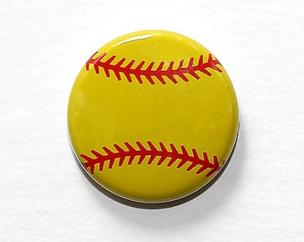 Softball - Pinback Button Badge 1 inch Sports Symbol - Magnet Keychain Zipper Pull Earrings or Flatback