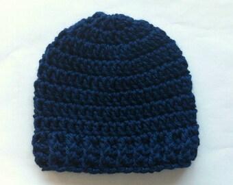 Navy Baby Beanie - CROCHET BABY HAT - Newborn Hat - Baby Boy - Baby Girl