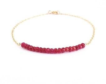 Ruby Gold Bracelet. Delicate gold filled faceted red ruby gemstone bracelet