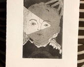 Hide & Seek, Wall Art and Home Decor Portrait: a hand pulled etching, limited edition print in black, child