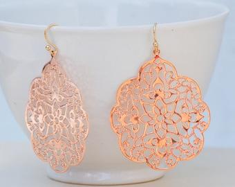 Rose GOLD Lace Filigree Earrings Bohemian Wedding 14K Rose Gold