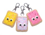 Pop Tart Keychain - Fairy Kei Bag Charm - Toaster Pastry Plush  - Toaster Pastry Charm - Kawaii Plush -  Bag Charm - Valentines Day Gift