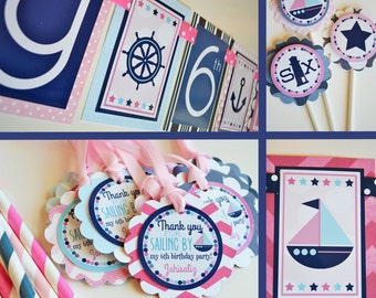 Nautical Birthday Party Decorations Pink Navy Blue Fully Assembled