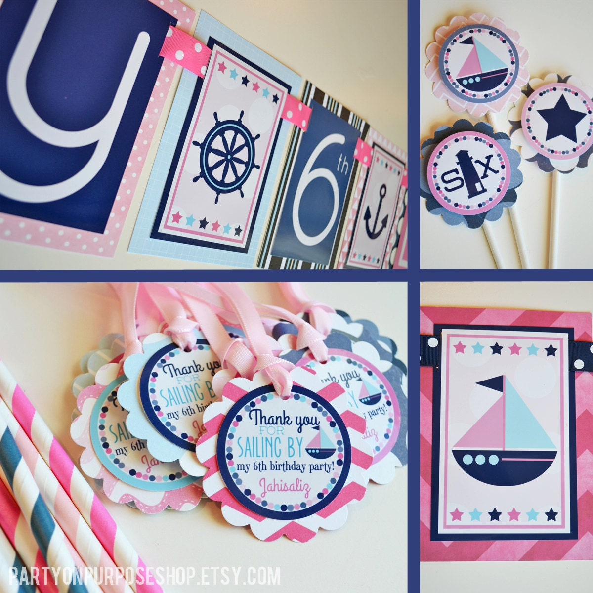 Nautical Party Decorations -  zoom