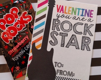 INSTANT DOWNLOAD Printable Rock Star  Valentines for Valentines Day