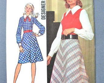 Uncut Simplicity 5066 Vintage 70s Dress Pattern  Bust 34 inches