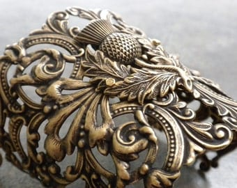 Scottish Thistle Outlander Jewelry Brass Cuff Bracelet
