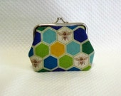 Coin Purse - Change Purse - Blue Coin purse - Honey Bee Change Purse