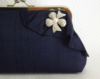 Bridal Clutch - Wedding Clutch - Navy Bridal Clutch - Wedding Purse - Bridesmaid Clutch - Bridesmaid Gift - Wedding Gift - Giselle Clutch