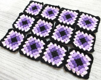12 Pcs Crochet Granny Squares...Each Square Has 5 Rows With Black Border