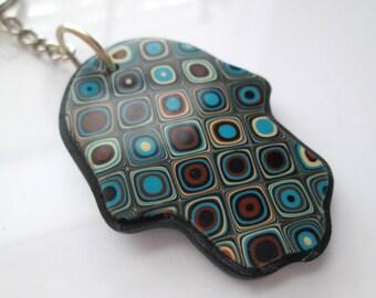Handmade Gustav Klimt Hamsa Hand Keychain, Polymer Clay Keychain, Talisman, Gustav Klimt, Earth Colors, Gift for Her, Mom Gift, Gift for Him
