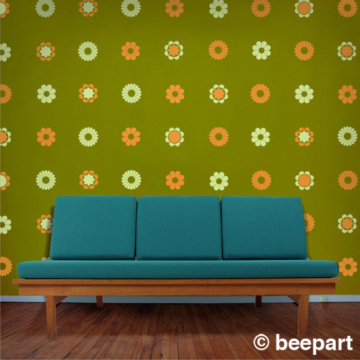 flower pattern vinyl wall decal set 70s funky flowers by beepart