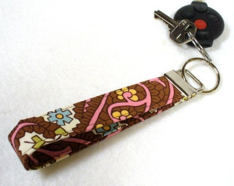Clearance Sale Wristlet Key Fob Amy Butler Fabric Charm Paisley Pink Brown Fabric Keychain Key Ring Fabric