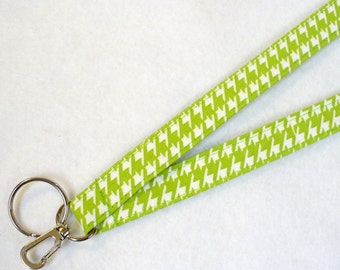 Houndstooth Lanyard Breakaway Lanyard ID Badge Holder ID Clip Key Ring Fob Fabric Lanyard Lime Green White MTO