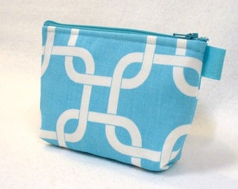 Clearance SALE Fabric Gadget Pouch Square Knot Gotcha Bridesmaid Cosmetic Bag Zipper Pouch Makeup Bag Cotton Zip Pouch Turquoise Blue White