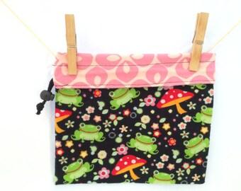 Knitting Reversible Project Bag, Froggy Mushroom, Medium