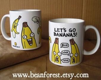bananas mug funny mugs funny coffee mug coffe mug 11oz cute mug funny friend gift crazy bananas cartoon art let's go crazy fruit banana peel