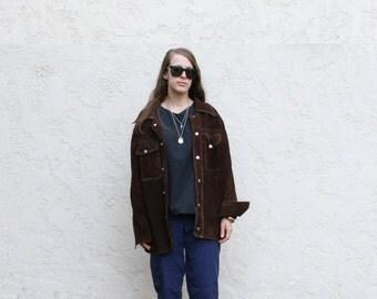 Dark brown suede workwear shirt jac. S/M (40)
