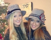 Classy Fedora in Black and White Houndstooth