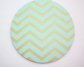 Mouse Pad mousepad / Mat - round - Shiny gold metallic mint chevron  - Computer Accessories Geekery Custom Desk Coworker Gifts Office