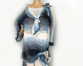 Knit tunic, Loose knit tunic, Knit dress, Boho tunic, Long sweater dress, Tunic dress, Hippie tunic, Avant Garde tunic, Maternity dress