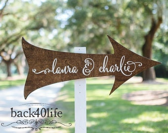 Personalized Calligraphy Arrow- Laura and Charlie (W-065) - Custom Carved Wedding Directional Arrow Sign - Ceremony or Reception-photo prop