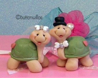 Sweetheart Turtle Wedding Cake Toppers