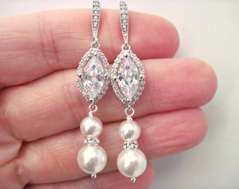 Wedding Earrings, Rhinestone Earrings, Crystal and Pearl Bridal Earrings Victoria