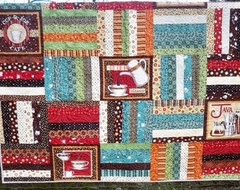 "Coffee Lovers quilt lap size 65"" x 66"" must have for the sofa throw quilt java"