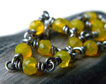 Sterling silver and faceted bright saffron yellow glass rondelle chain bracelet - Handmade wire wrapped jewelry