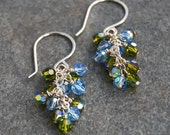 Cascading Blue and Green Swarovski Crystal Earrings