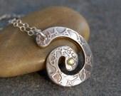 Necklace, Peridot, Fine Silver, Silver Necklace, Precious Metal Clay Pendant, Spiral Pendant, Bohemian Necklace