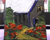 Miniature Oil Painting 3x3 w/Easel Impressionist Country Farm Barn LANDSCAPE Lynne French Art Free Shipping