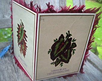 Victorian sweetheart card, fringed card with tassel, botanical card, fringed botanical card, victorian card, fringed valentine